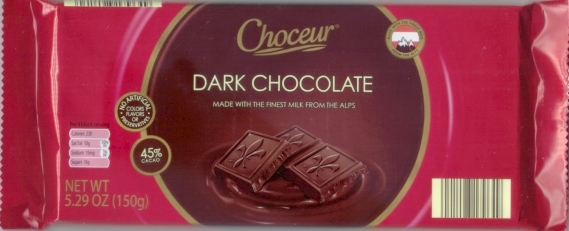 Choceur Dark Chocolate Bar 5.29oz/150g